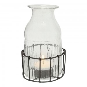 Bottle T-Light in Basket -...